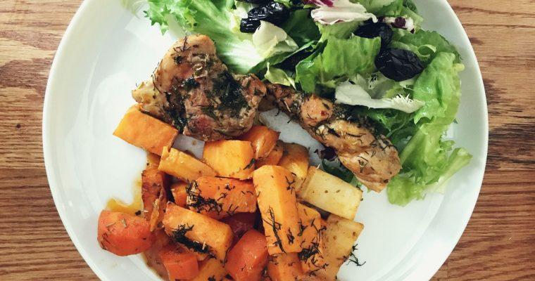 Pieczona polędwica z warzywami