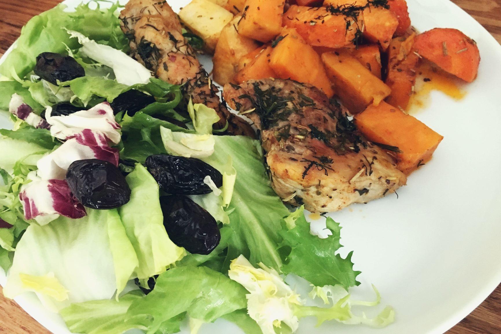 Polędwica wieprzowa z pieczonymi warzywamia